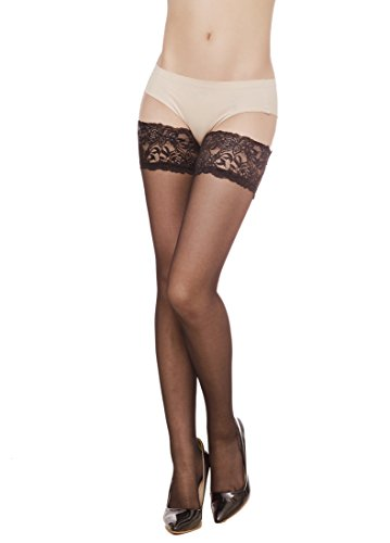 Women's Lace Top Sheer Thigh High Silky reflection (Belle Lace Stockings)