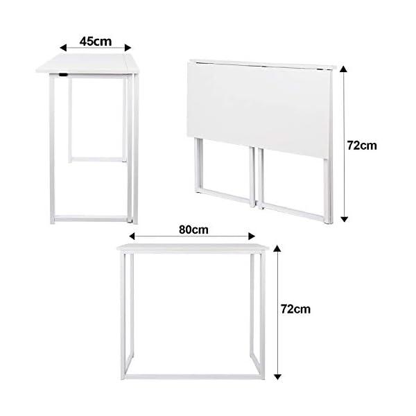 Leader Accessories Bureau Pliable pour Ordinateur et Ordinateur Portable,Table d'étude de Style Industriel, Bureau Poste…