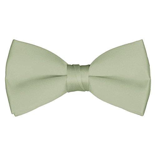 Boys' & Adult Deluxe Satin Adjustable Bow Tie By Tuxgear (Boys, Sage Green) (Satin Sage Green)