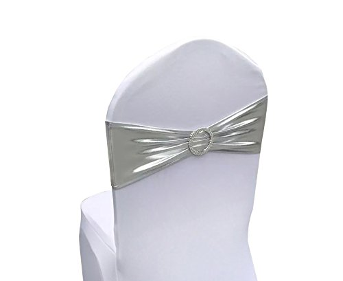 Any Sash Color (SINSSOWL 100PCS Stretch Wedding Chair Bands with Buckle Lycra Slider Sashes Bow Decorations 25 Colors (Bronzing Silver) …)