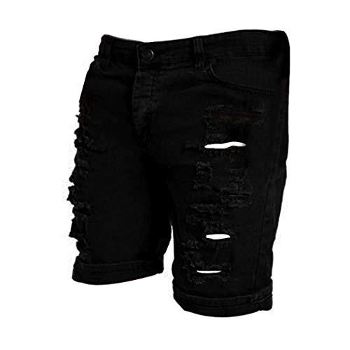 Casual Uomo Nero Jeans Bretelle Pantaloncini Da Vintage Giovane Anaisy Bermuda Con Strappato FPtXwqw
