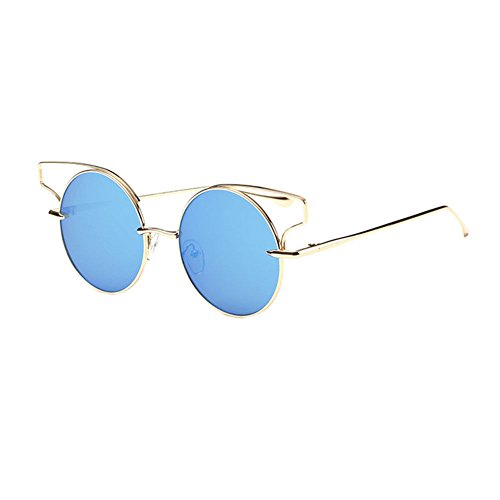 AMAZZANG-US Round Lens Cat Eye Sunglasses Metal Frame Cutout Hollow Out Sunglasses - Online Shop Luxottica