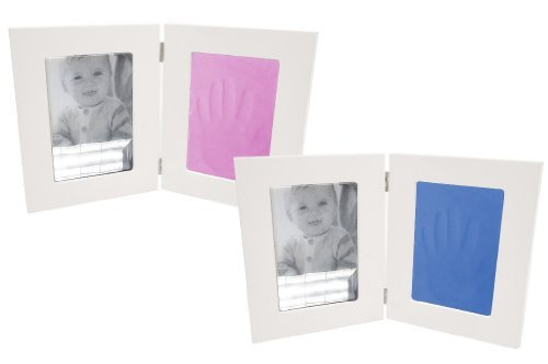 Clay Pink Impression Childrens Handprint Footprint Pet Pawprint Twin Frame Kit