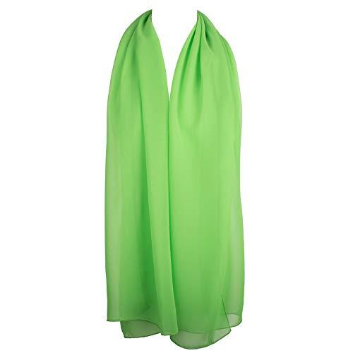 Green Chiffon Scarf - HatToSocks Chiffon Scarf Sheer Wrap Voile Beach Sarong for Women - Lime Green