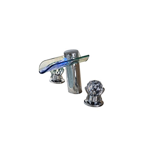 Bathroom Basin Faucet Beautiful LED Color Tap Waterfall Sink Faucet Glass  Spout With Crystal Handles