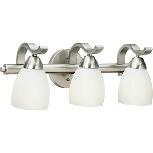 Forte Lighting 5045-03-55 Bath Vanity with Satin Opal Glass Shades, Brushed Nickel