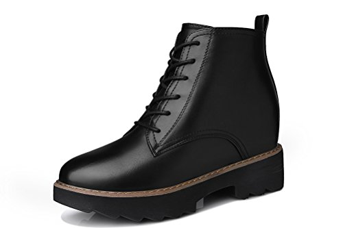 Youxuan Women's Winter Walking Short Booties Slip Resistant Girls Platform Flats Snow Boots Black 5.5M US by Youxuan (Image #8)