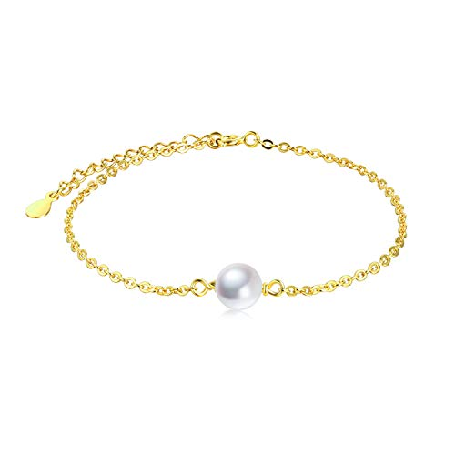 Sterling Sliver Freshwater Cultured Single Pearl Adjustable Chain Bracelets Wedding Bridesmaids Jewelry for Women Gifts 7