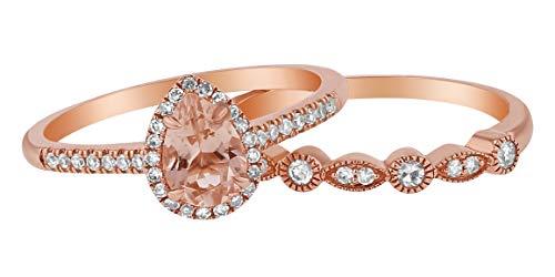 Olivia Paris Women's 14K Rose Gold Pear Morganite and Diamond Halo Vintage Bridal Ring Band Set (1/4 cttw, H-I, I1), 7