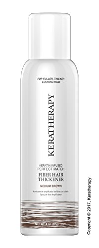 Keratherapy FIBER THICKENING SPRAY 4 OZ Keratin Infused Perfect Match for Fuller, Thicker Looking Hair! (Medium Brown) by KERATHERAPY
