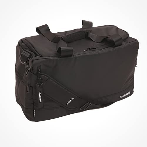 PREMIUM Sneaker Bag, Duffel Bag, Gym Training Bag, Travel Bag, Basketball Bag, Footbal Bag with 3 adjustable compartment dividers (Black/red without print)