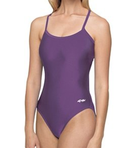 Dolfin Women's Solid Competition V-2 Back Swimsuit - Purple 30