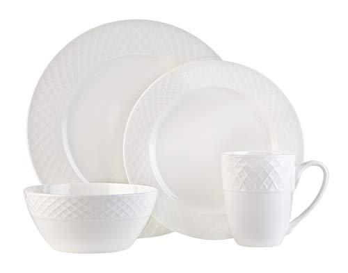 White Bone China 16-Piece Dinnerware Set Stratford by Godinger Service for 4