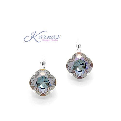 Mist Iris (IRIS MIST 12mm Cushion Cut Drop or Stud Earrings Swarovski Crystal *Choose Your Finish *Karnas Design Studio™)