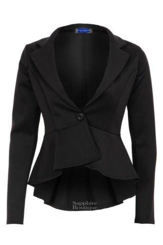 Sapphire NUEVO mujer corto Largo Con Sobrefalda Inteligente Oficina Trabajo Ajustada mujer chaqueta americana Negro