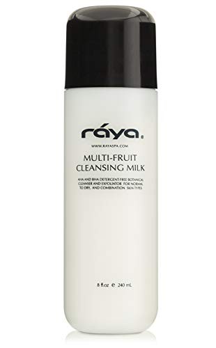 RAYA Multi-Fruit Facial Cleansing Milk with AHA and BHA 8 oz (G-154) | Exfoliating Soap-Free Cleanser and Make-Up Remover for Dry and Combo Skin | Made with Multi-Fruit Alpha and Beta Hydroxy Acids