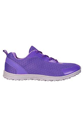 Mountain Warehouse Lightweight Kids el Peso Ligero Embroma a amaestradores - Los Zapatos de Los Niños Superiores del Sintético y del Acoplamiento, Zapatillas de Deporte Morado