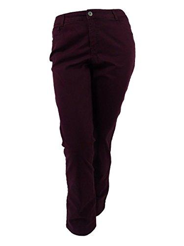 Style & Co. Womens Plus Tummy Control High Rise Slim Leg Jeans Purple 14W