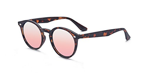Kelens Unisex Round Sunglasses Mirror Tinted Circle Lens Pink -
