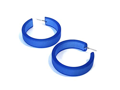- Sapphire Blue Hoop Earrings | Vintage Lucite Frosted Large Portland Hoops