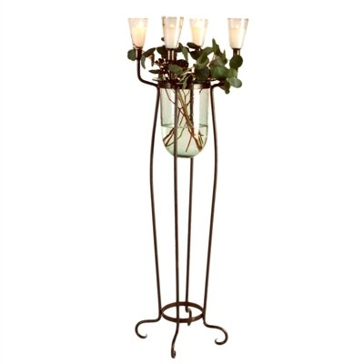 Wrought Iron Floor Candelabra with Vase & Candle Holders