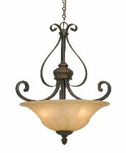 Casual Bowl Pendants Lighting (Golden Lighting 7116-3P LC Mayfair Pendant Bowl, Leather Crackle Finish)