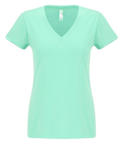 Green Ladies T-shirt (Next Level Apparel Ladies Junior Fit Sueded V-Neck Tee. N6480 Mint M)