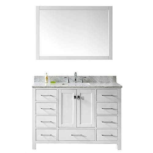 Virtu USA Caroline Avenue 48 inch Single Sink Bathroom Vanity Set in White w/Square Undermount Sink, Italian Carrara White Marble Countertop, No Faucet, 1 Mirror - GS-50048-WMSQ-WH ()