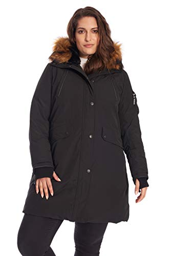 Alpine North Size Womens Vegan Down Long Parka Winter Jacket Plus, Black, 2X