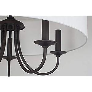 """Kira Home Quinn 21"""" Traditional 5-Light Chandelier + White Linen Drum Shade, Oil-Rubbed Bronze Finish"""