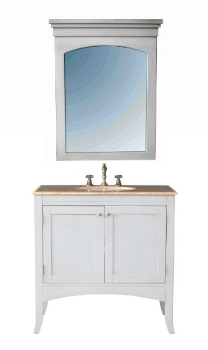 Stufurhome GM-6119-36-TR 36-Inch Alyssa Single Vanity in Cream Off-White Finish with Marble Top in Travertine with White Undermount Sink and Mirror