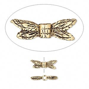 Bead antique gold-plated pewter (tin-based alloy) 13x4mm dragonfly wings