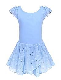 Arshiner Girls Ruffle Sleeve Skirted Leotard Ballet Dance Dresses