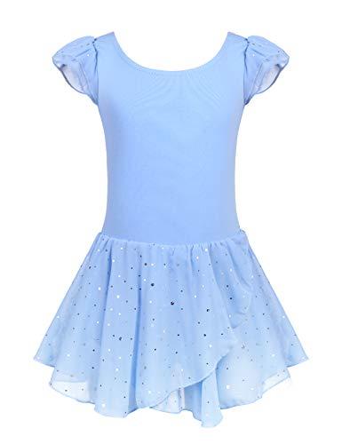 Arshiner Girls Ruffle Sleeve Ballet Dance Dress Glitter Tutu Skirted Leotard Blue (Dance Leotard 4t)