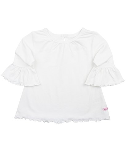 RuffleButts Girls Ruffled Knit Top w/Bell Sleeve - White - (Girls Ruffled Tunic)