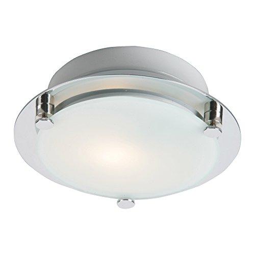 (ET2 Lighting E53833-09SN Flush Mount with Frost White Glass Shade, Satin Nickel)