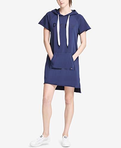 DKNY Womens Sport Logo Hooded Sweatshirt Dress Color Peacoat Size XL