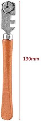 ガラスカッター、木のハンドルが付いている専門の6輪ガラスカッターのクラフトカッティングキット用具、130MM