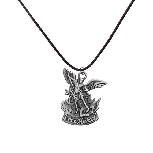 bobauna St Saint Michael Pray for Us Pendant Religious Medal Necklace Christian Faith Jewelry Religious Gift for Family Friend (Saint Michael Pray Necklace) ()