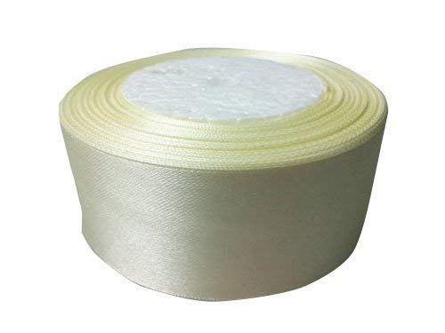 Trimming Shop 40mm X 22M Double Sided Satin Ribbon Roll - Reel Of Dual Faced Polyester Fabric For Sewing Ivory
