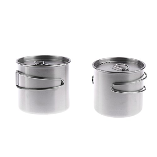 Baosity 2pcs 500ml Stainless Steel Outdoor Camping Cup Pot Bowl Backpacking Cup Accessories 9cm by Baosity