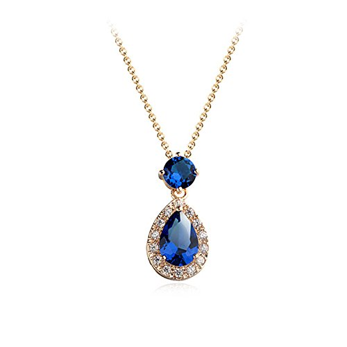 (Gift for Girls Rose Gold Plated Teardrop and Round Shaped Sapphire Blue Swarovski Elements Crystal Pendant Necklace Fashion Jewelry for Women)