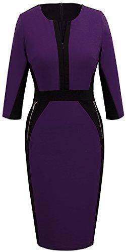 (Homeyee Stretch Tunic Pencil Sheath Dress U837 (4, Purple))