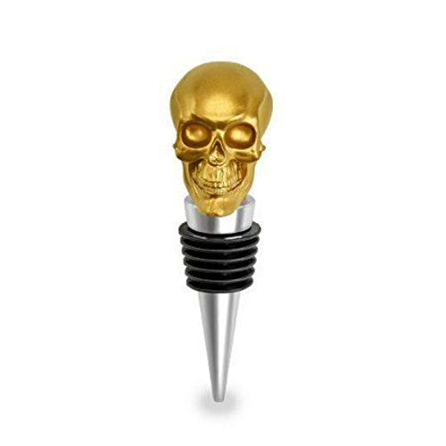 Gold Skull Bottle Wine Stopper (Halloween Decorated Bottles)