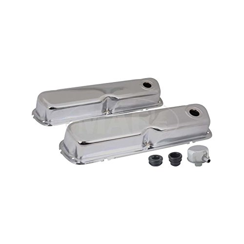 MACs Auto Parts 60-94166 Valve Covers, Chrome, 260, 289 & 302, V8, With Oil Filler Cap With Tube - Mustang Cap Chrome Oil