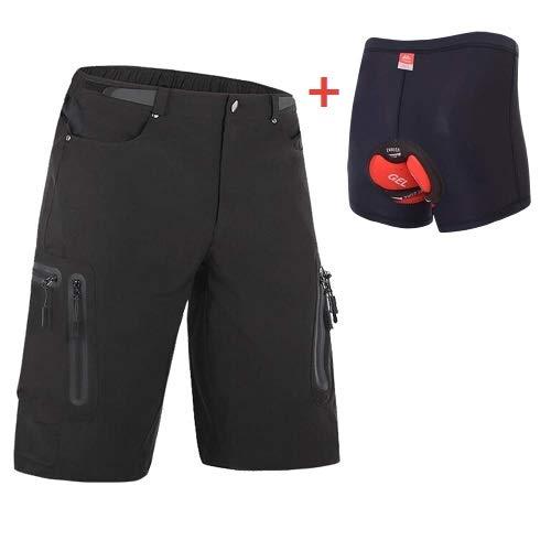 Ally Padded Mountain Bike Shorts, Water Repellent Mens Cycling MTB Shorts, 7 Pockets