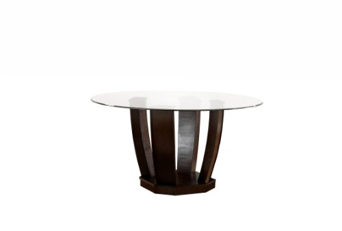 Furniture of America Valyria Round Dining Table with 10mm Tempered Glass Top, Espresso Finish