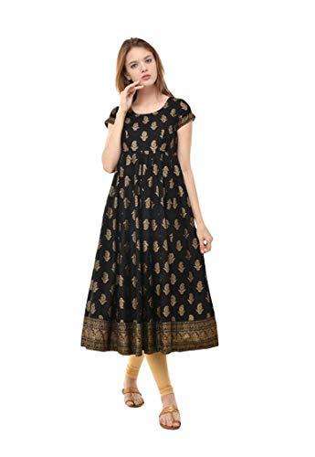 Dream Angel Fashion Women's Black Paisley Round Neck Anarkali Kurta Ready to Wear - Designer Salwar Kurta