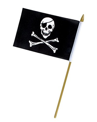 - Rhode Island Novelty Playo Pirate Skull Stick Flags 12 Pack - 12
