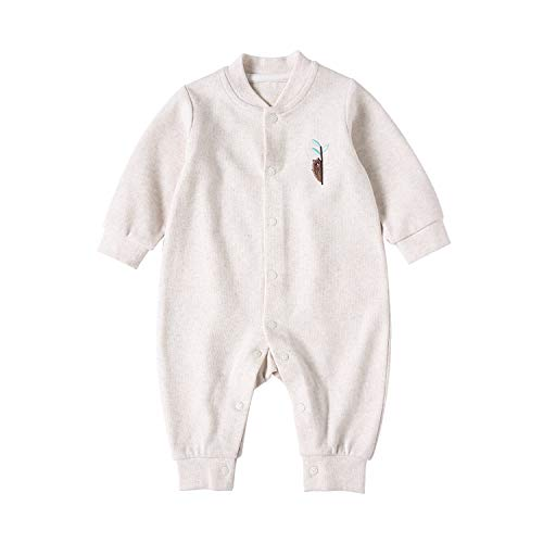 pureborn Baby Coverall Infant Romper Pajamas Embroidery Bear Organic Cotton Long Sleeve Jumpsuits Sleepwear Beige 3-6 Months